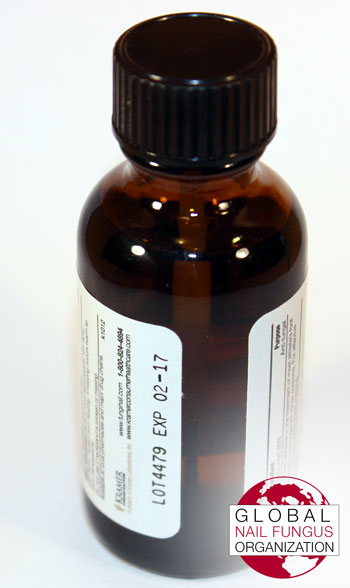 Rear view of the Fungi Nail Brand topical solution bottle