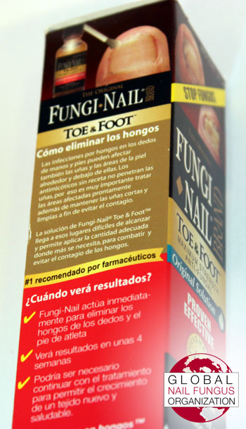 Side view of Fungi Nail Brand box/packaging